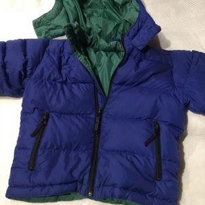 Lands End 100% goose down Blue jacket 4 T
